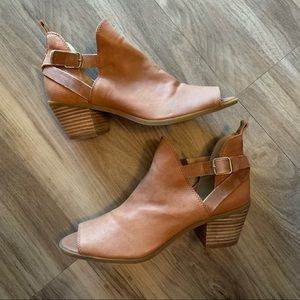 Lucky Brand Banu Peep Toe Leather Ankle Bootie